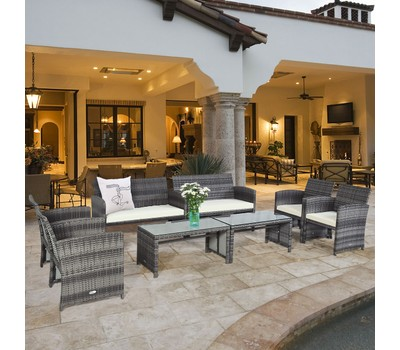 Costway 8PC Rattan Cushioned Patio Set With Glass Table Top Was: $899.99 Now: $479.99.