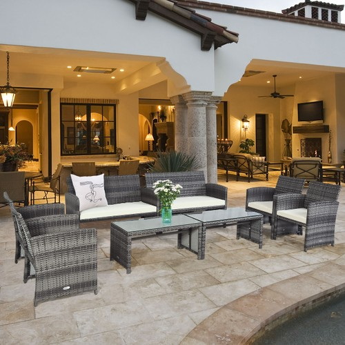 Costway 8PC Rattan Cushioned Patio Set With Glass Table Top