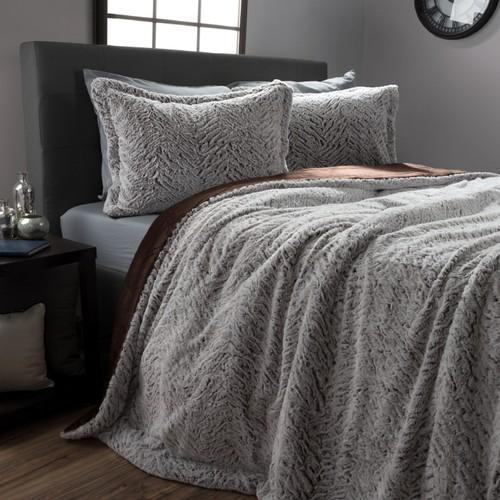 Faux Fur Comforter Set, 3 Piece King Comforter Sham Set With Mink  King
