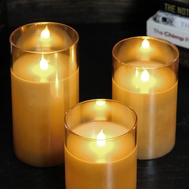 LED Candles - Set of 3 | MandW Gold
