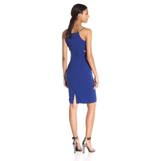 Badgley Mischka Women's Strappy V Neck Cut Out Cocktail, Blueberry, 4