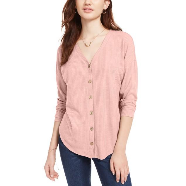 Pink Rose Hippie Rose Juniors' Tie-Front Button-Up Top Pink Size Medium
