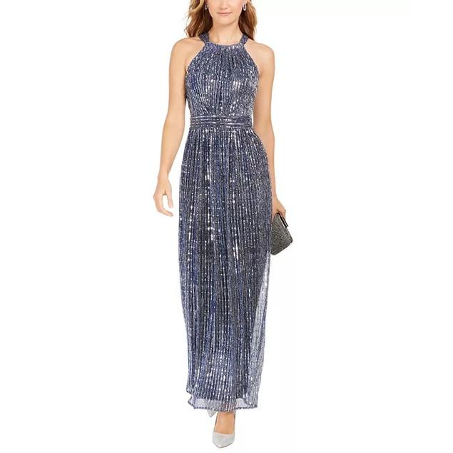 INC International Concepts Women's Sparkle Halter Dress Navy Size 4