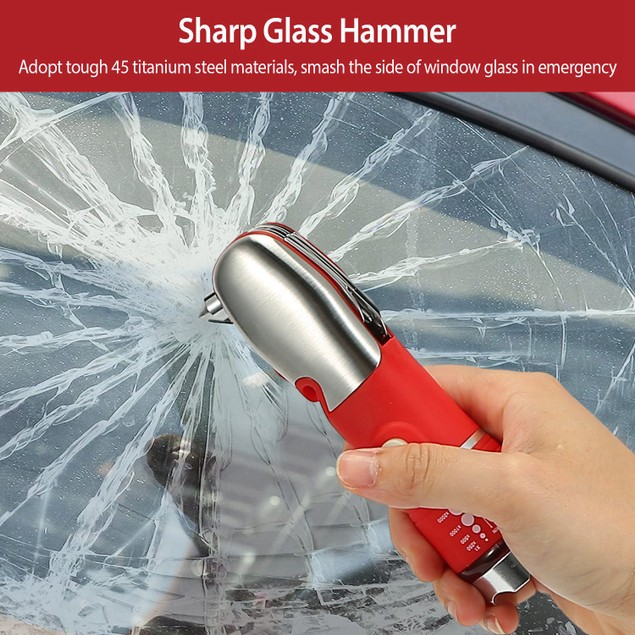 8 In 1 Multi Tool Hammer Zoomable LED Flashlight Emergency Auto Escape Tool