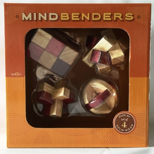 Mind Benders 4 Piece Wooden Puzzle Set, More Games by Go! Games