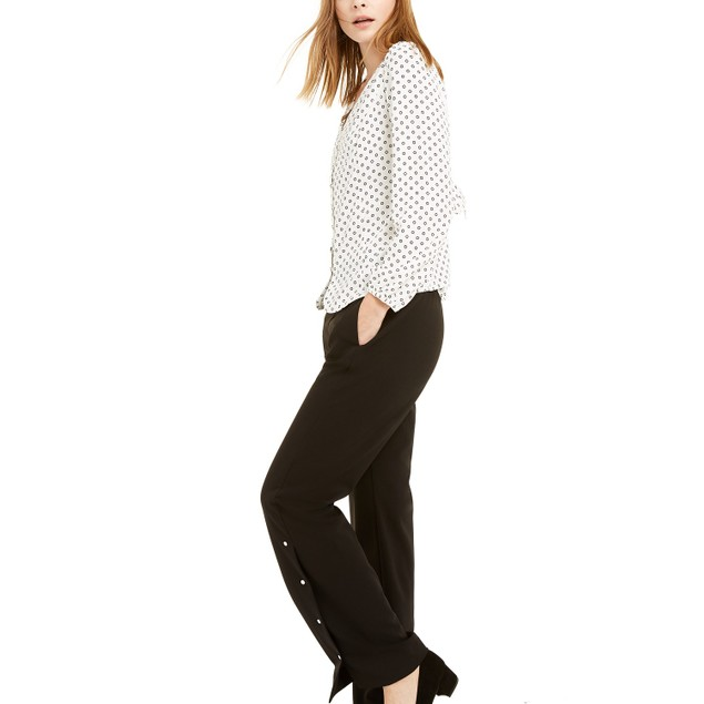 Alfani Women's Riveted Wide-Leg Pants Black Size Medium