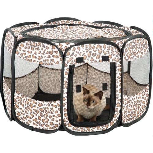 Portable Small Dog Pen Puppy Pen Leopard Print Cat Pet Playpen