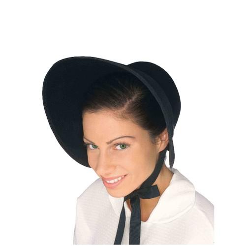 Black Felt Bonnet Colonial Pilgrim Quaker Amish Pioneer Prairie Hat Adult