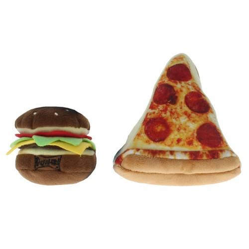 Lulubelles Power Plush Pizza Dog Toy and Hamburger Bundle (Set of 2)
