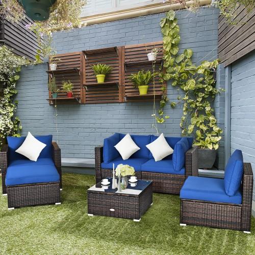 6PCS Patio Rattan Furniture Set Sectional Cushion Sofa Coffee Table Ottoman