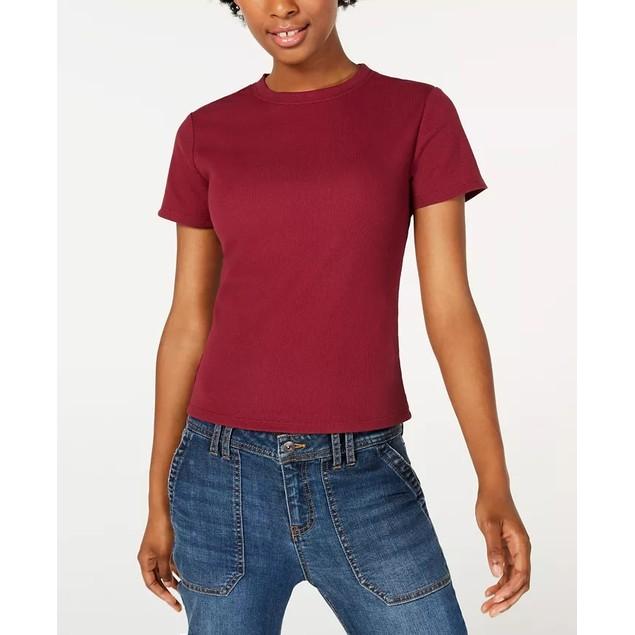 Ultra Flirt Junior's Crewneck Baby T-Shirt Dark Red Size Large