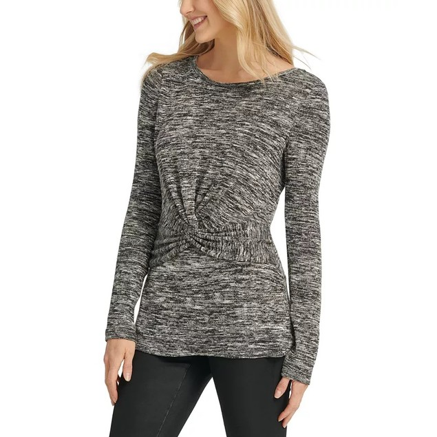 DKNY Women's Heathered Twist Front Top Charcoal Size Large
