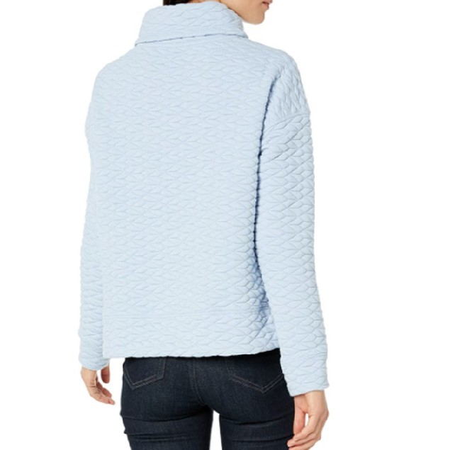Calvin Klein Women's Performance Quilted Funnel-Neck Top Blue Size Medium