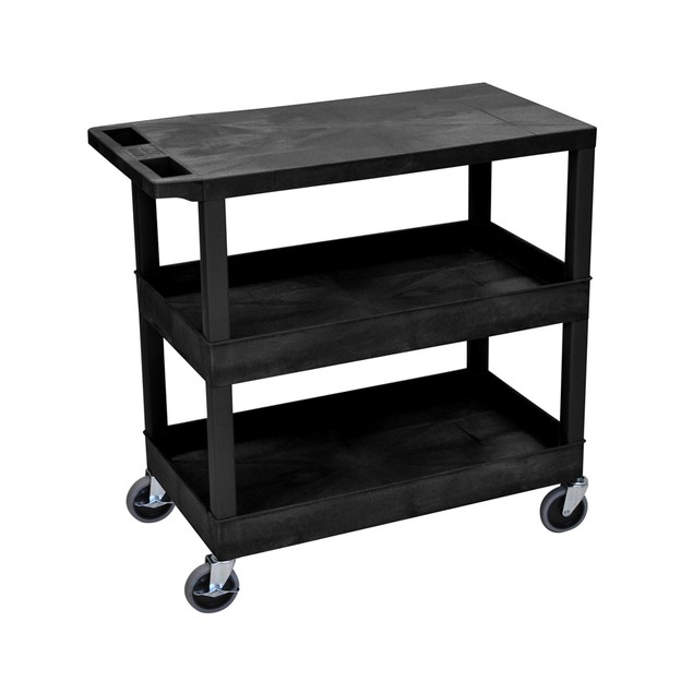 """Luxor 18"""" x 32"""" Top Flat and Two Tub Shelves Cart - Black"""