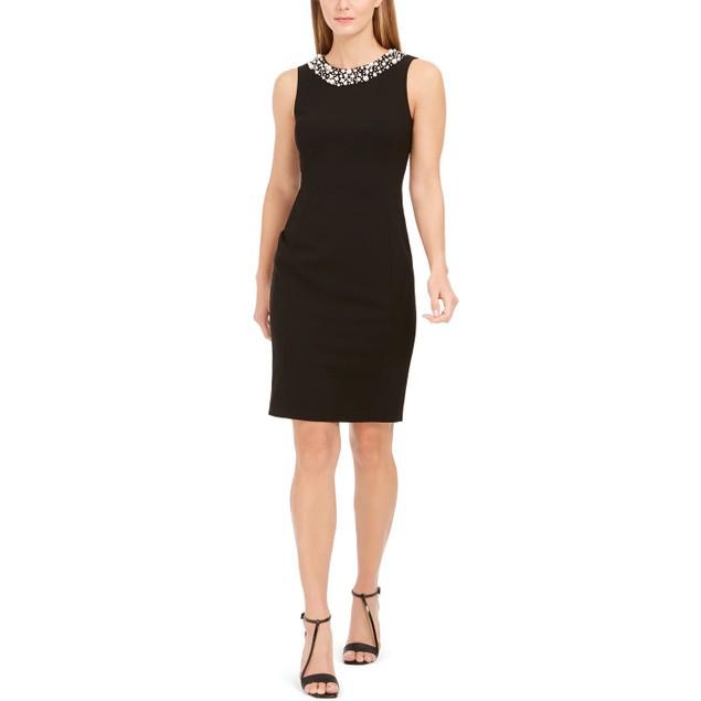 Calvin Klein Women's Imitation Pearl Trim Sheath Dress Black Size 1 Petite
