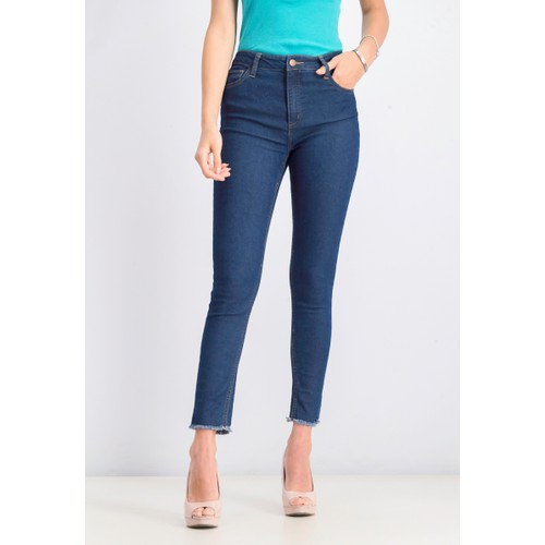 Tinseltown Junior's High Rise Raw Hem Skinny Jeans Bright blue Size 1
