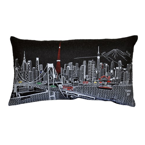 Spura Home Tokyo Novelty Print Skyline Contemporary Wool Day/Night Cushion