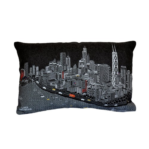 Spura Home Chicago Printed Skyline Embroidered Cushion Day/Night Setting