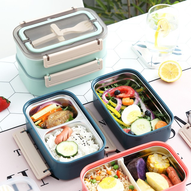 304 Stainless Steel Insulated Lunch Box Double Layer With Tableware, Portable Work Adult