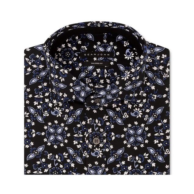 Sean John Men's Classic-Fit Graphic Dress Shirt Blue Size 15-34-35