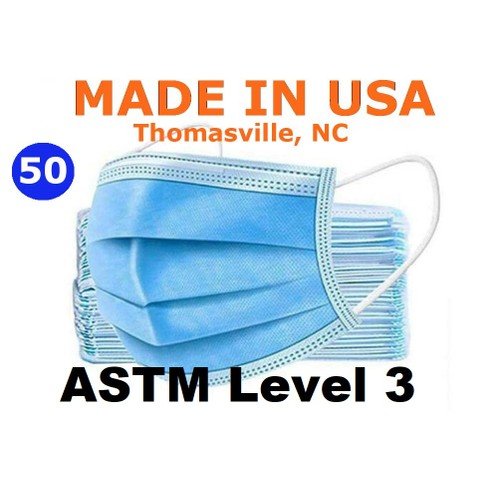 ASTM Level 3 Face Mask, Made in USA, 50/Box, Bacterial Filtration Capacity over 99%, resistant to blood penetration.