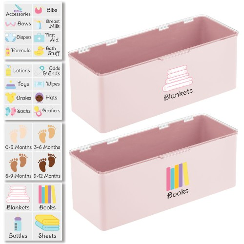 mDesign Stackable Plastic Kids Supplies Organizer Box, 2 Pack + 32 Labels