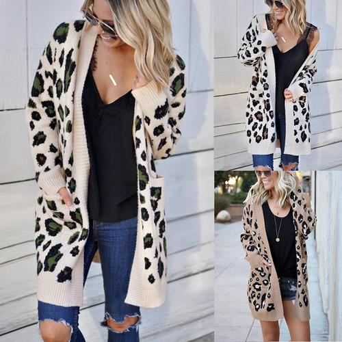 Women's Fashion Three-Color Leopard Print Top Coat