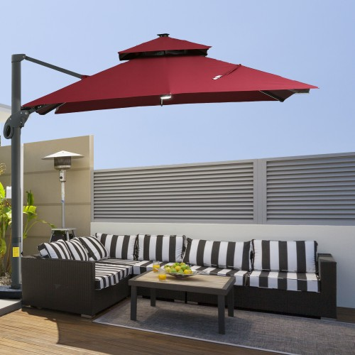 10 FT Aluminum Sun Square Canopy Top with Adjustable Pole Angle Wine Red