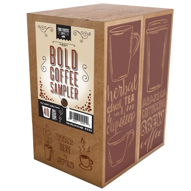 Two Rivers Bold Dark Roast Assorted Coffee Pods for Keurig Brewers, 40 Count