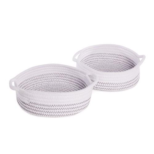 Cotton Rope Storage Baskets - Set of 2 | MandW White with Black Thread