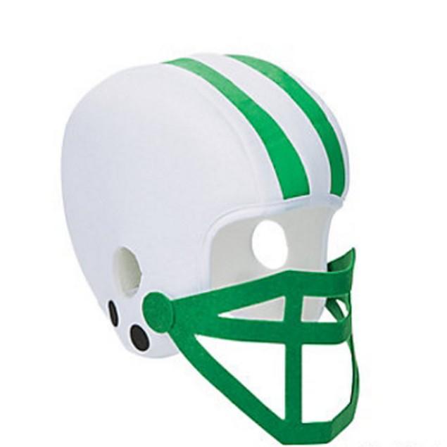 White And Green Foam Football Helmet