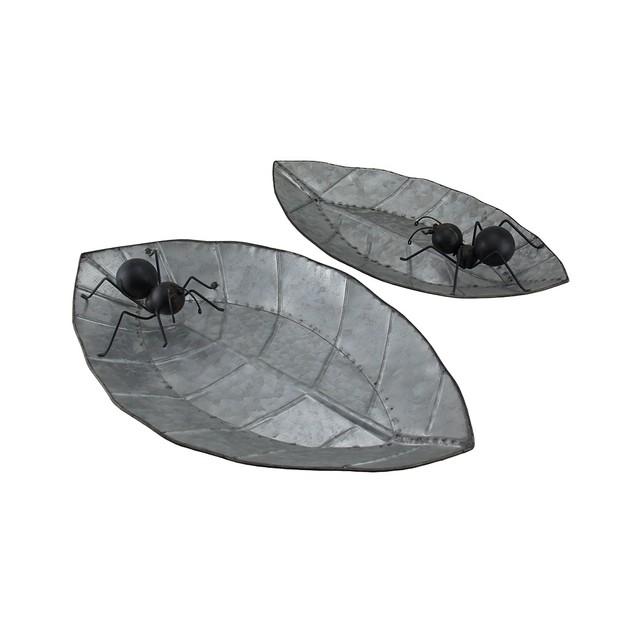 Galvanized Ants On Leaves Set Of 2 Decorative Decorative Trays