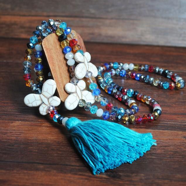 Fringed Handmade Beaded Women Sweater Chain