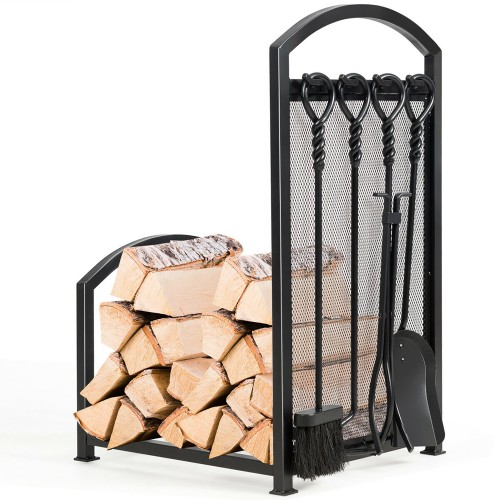 Costway Firewood Log Rack with 4 Tools Set Firewood Holders for Fireplace I