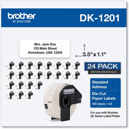 Brothers Brother Genuine DK1201 Die-Cut Standard Rolled Address Labels for QL Printers, 3-Pack (DK12013PK),White, 24 Rolls (DK120124PK)