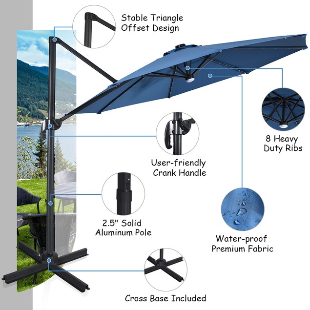 10ft Solar LED Cantilever Offset Patio Umbrella 360dgrees Rotation Aluminum