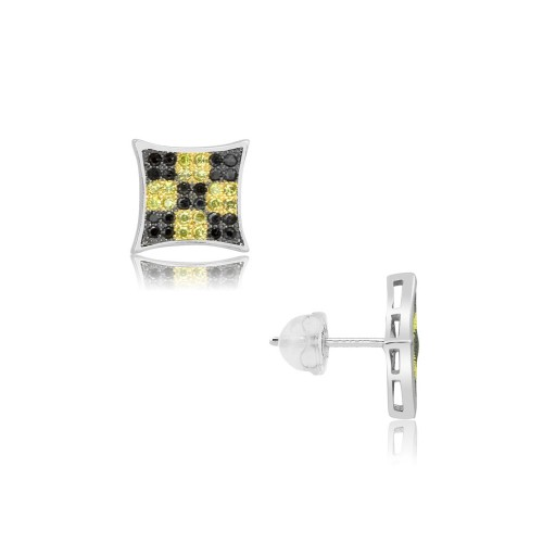 Sterling Silver Micro Pave Square Shape Black & Yellow CZ Pave Earrings