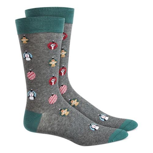 Bar III Men's Ornament Socks Gray Size Regular