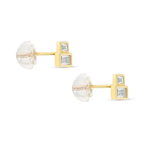 10K Gold Sideways Baguette Cubic Zirconia Tiered Stud Earrings
