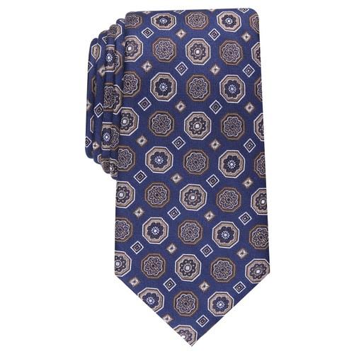 Tasso Elba Men's Classic Medallion Silk Tie Navy Size Regular