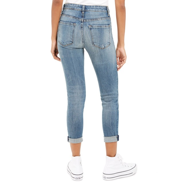 STS Blue Women's Distressed Cropped Straight Leg Jeans Blue Size 31