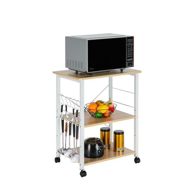 Baker's Rack 3-Tier Kitchen Utility Microwave Oven Stand Storage Cart