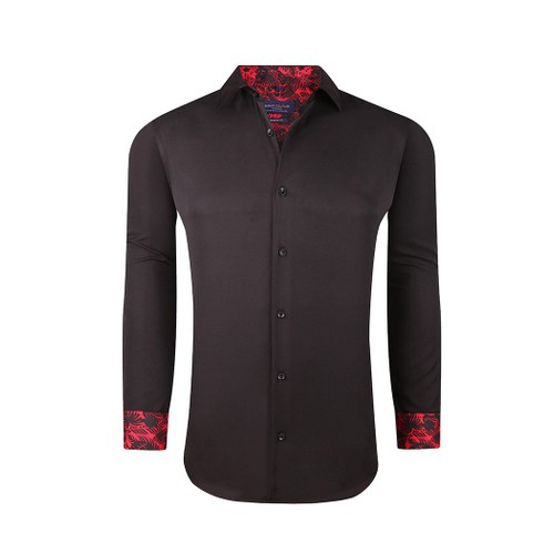 Sulso Couture Men's Long Sleeve Performance Solid Sateen Button Down