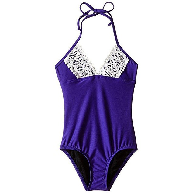Ella Moss Girl Girl's Stella One-Piece (Big Kids) Purple Swimsuit SZ: