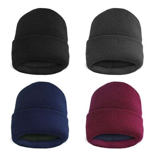 Men's Thermal Fleece Lined Baggy Fold Over Winter Hat