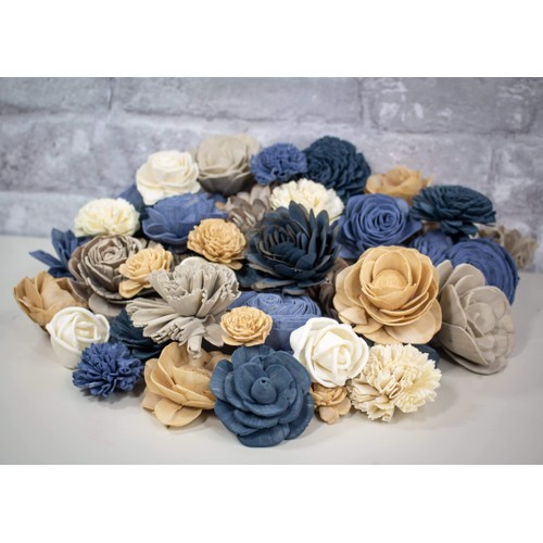 Sola Wood Flowers Farmhouse Assortment 25 or 50 Pack