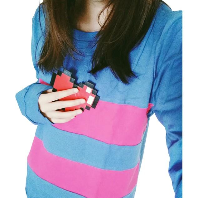 Frisk Blue Long Sleeve Shirt And Heart Costume