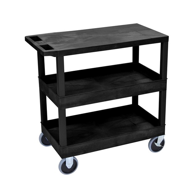 """Luxor 18"""" x 32"""" Top Flat and Two Tub Shelves Heavy - Duty Cart - Black"""