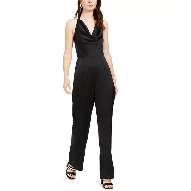 19 Cooper Women's Cowlneck Halter Jumpsuit Black Size X-Large