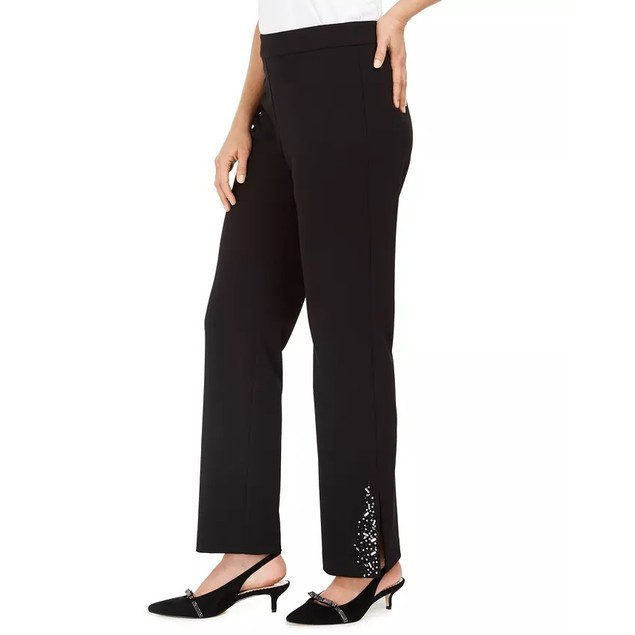 JM Collection Women's Crepe Embellished PantsBlack Size Large